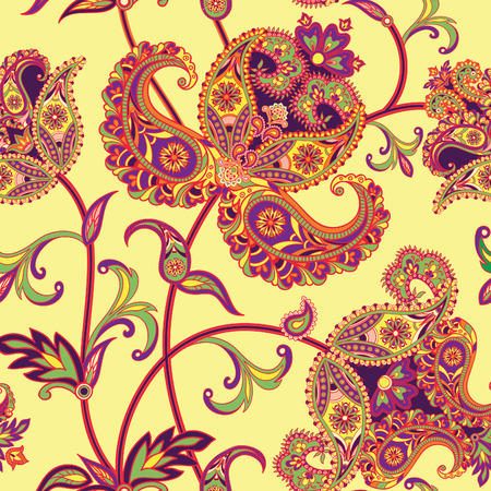 Illustration pour Flourish tiled pattern. Abstract floral geometric seamless oriental background. Fantastic flowers and leaves. Wonderland motives of the paintings of arabic mandala. Indian fabric pattern. - image libre de droit