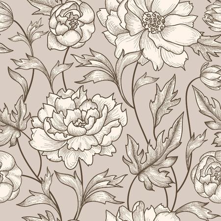 Ilustración de Floral seamless pattern. Flower background. Floral seamless texture with flowers. Flourish tiled wallpaper - Imagen libre de derechos
