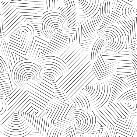 Photo for Abstract seamless pattern.  Line ornamental doodle geometric background Black and white stripped texture - Royalty Free Image