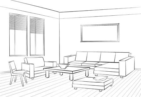 Ilustración de Home interior furniture with sofa, armchair, table. Living room drawing design. Engraves hand drawing vector illustration - Imagen libre de derechos