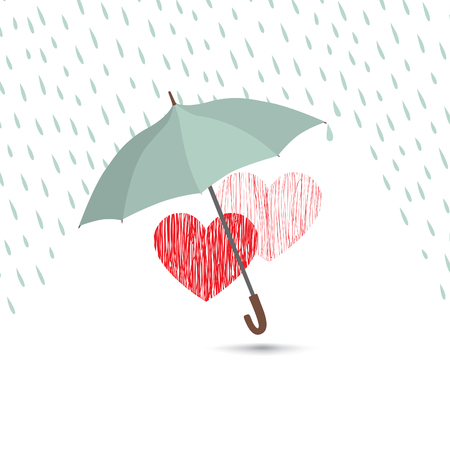 Photo pour Love heart sign over rain under umbrella protection. Two hearts in love icon isolated over white background. Valentine's day greeting card design - image libre de droit