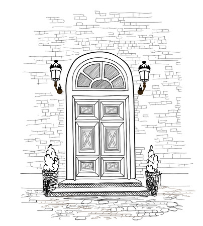 Door background. House door entrance hand drawing illustration