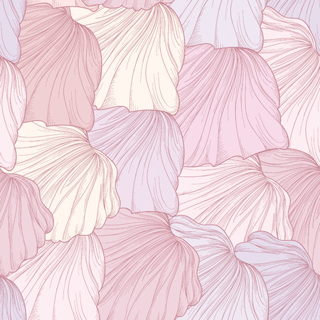 Illustration pour Abstract floral seamless pattern. Geometric line leaves etching ornament. Ornamental stylish wave background. Abstract stripe tile texture - image libre de droit