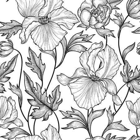 Illustration pour Floral seamless etching pattern. Flower background. Floral seamless texture with flowers. Flourish tiled wallpaper - image libre de droit