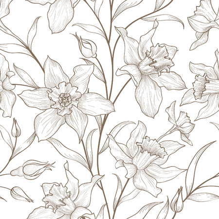Illustration for Floral seamless pattern. Flower background. Floral tile ornamental texture with flowers. Spring flourish garden - Royalty Free Image