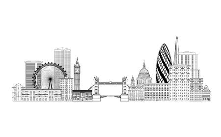 Illustration pour London skyline. London cityscape with famous landmarks and buildings. Travel Untied Kingdom baclkground - image libre de droit
