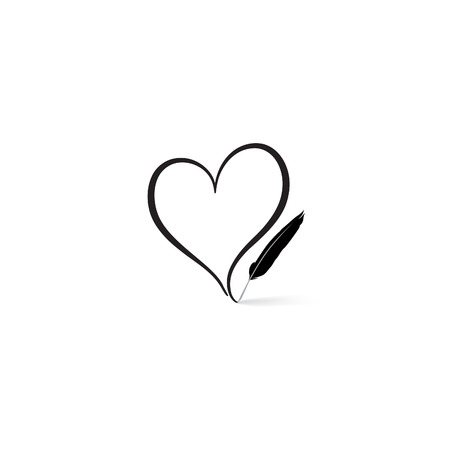Illustration pour Love heart  written by feather pen. St Valentine's day greeting card. Heart shape design for love symbols. - image libre de droit