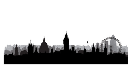 Illustration for London city buildings silhouette. English urban landscape. London cityscape with landmarks. Travel Untied Kingdom skyline background - Royalty Free Image