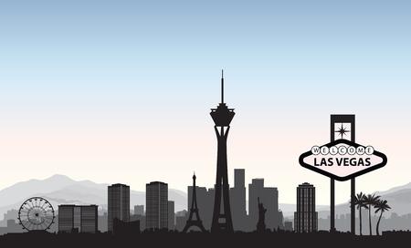 Ilustración de Las Vegas skyline. Travel american city landmark background. Urban cityscape. USA landscape - Imagen libre de derechos