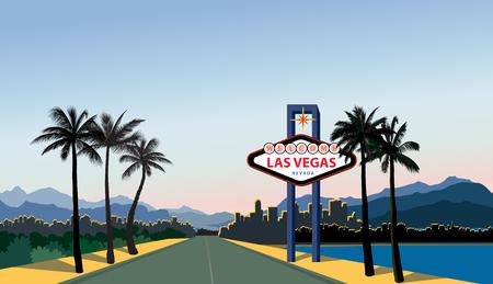 Illustration pour Las Vegas city skyline. Travel USA background. Landscape with Las-Vegas sign - image libre de droit
