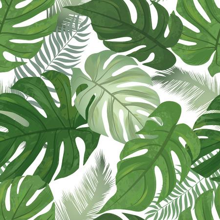 Illustration pour Floral seamless pattern. Tropical leaves background. Palm tree leaf nature texture - image libre de droit
