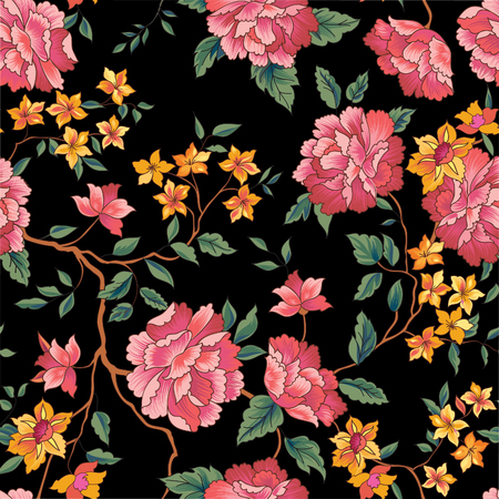 Illustration for Floral pattern in chinese embroidery style. Flower seamless background. Flourish ornamental garden - Royalty Free Image