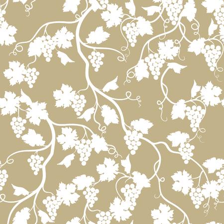 Ilustración de Floral seamless pattern with grape branch. Wineyard retro wallpaper. Garden background - Imagen libre de derechos