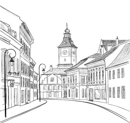Illustration pour Street  in old city. Cityscape - houses, buildings on alleyway. Old city view. Medieval european castle landscape. Hand drawn sketch - image libre de droit