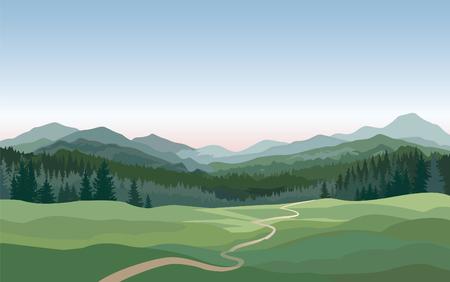 Illustration pour Rural landscape with mountains, hills, fields. Countryside nature skyline background - image libre de droit