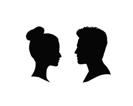 Illustration for Couple faces silhouette. Man and woman profile over white background. - Royalty Free Image