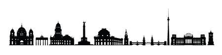 Illustration pour Skyline of Berlin city. Varius landmarks silhouette of Berlin, Germany. Travel Germany famous places icon set - image libre de droit