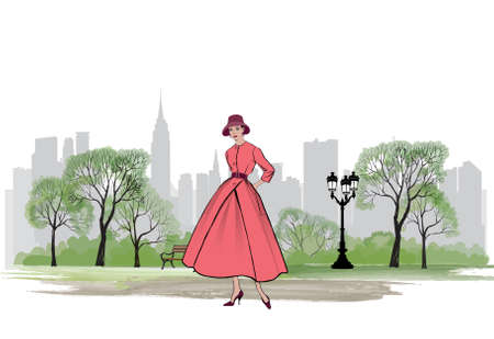 Illustration for Retro fashion dressed woman (1950's 1960's style) in city park landscape. Stylish young lady in vintage clothes in spring city garden. Spring fashion silhouette from 60s. Park cityscape skyline. Urban life illustration. - Royalty Free Image