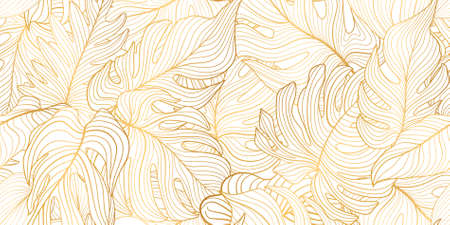 Illustration pour Floral seamless pattern with tropical leaves. Nature lush background. Flourish garden texture with line art leaves. Artistic drawn background - image libre de droit