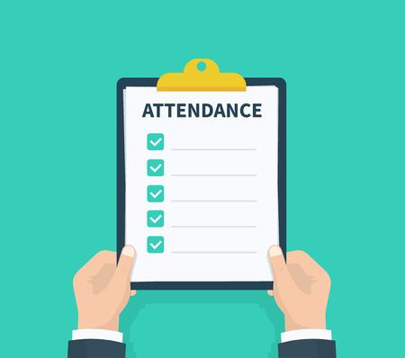 Illustration pour Man hold Attendance clipboard with checklist. Questionnaire, survey, clipboard, task list. Flat design, vector illustration on background - image libre de droit