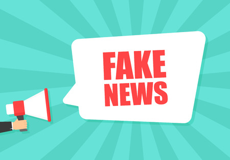 Illustration pour Male hand holding megaphone with Fake News speech bubble. Loudspeaker. Banner for business, marketing and advertising. Vector illustration. - image libre de droit