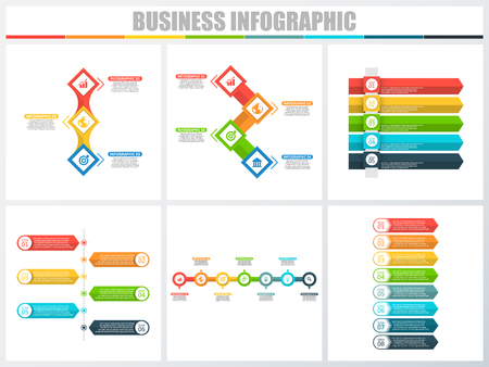Illustration pour Abstract infographics number options template 3, 4, 5, 6, 7, 8. Vector illustration. Can be used for workflow layout, diagram, strategy business step options, banner and web design set - image libre de droit