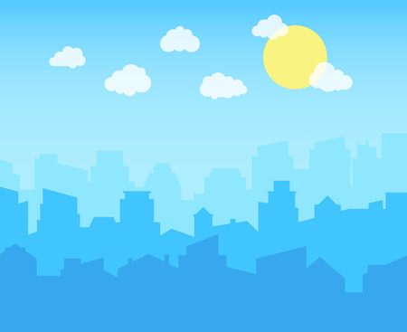 Illustration pour City with blue sky, white clouds and sun. cityscape skyline flat panoramic vector background - image libre de droit