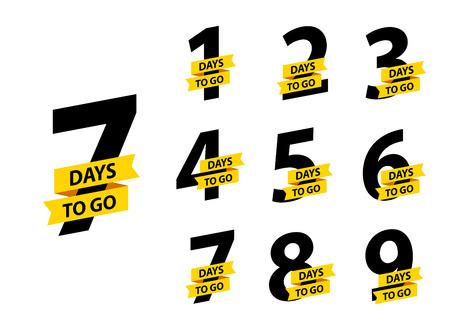Ilustración de Number 1, 2, 3, 4 5 6 7 8 9 10 of days left to go Collection badges sale landing page banner - Imagen libre de derechos