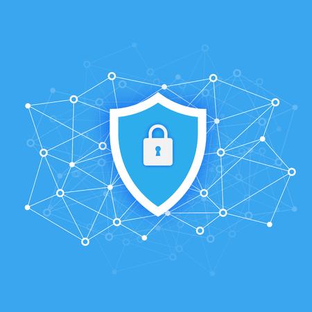 Illustration pour Computer data security Access concept. Protect sensitive data. Internet security. Flat design, vector illustration on background - image libre de droit