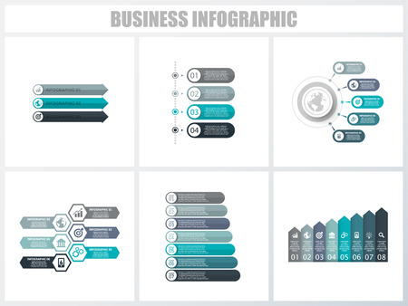 Illustration for Abstract infographics number options template 3, 4, 5, 6, 7, 8. Vector illustration. Can be used for workflow layout, diagram, strategy business step options, banner and web design set - Royalty Free Image