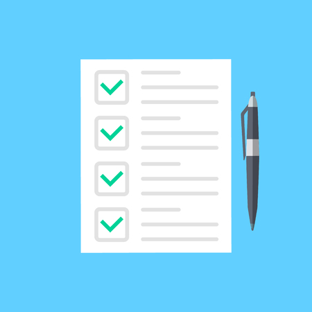 Illustration pour Survey form icon, flat style good exam results paper sheet with pen, quiz form idea, interview assessment, passed questionnaire, isolated on color background image. Vector illustration - image libre de droit