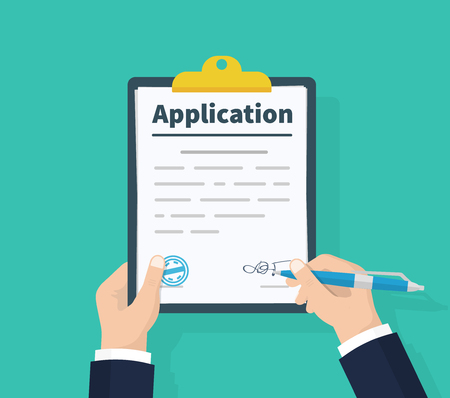 Illustration pour Application form. Man with clipboard in his hand fills in the form of employment. Write documents. Analyzing personnal resume. Flat design, vector illustration on green background - image libre de droit