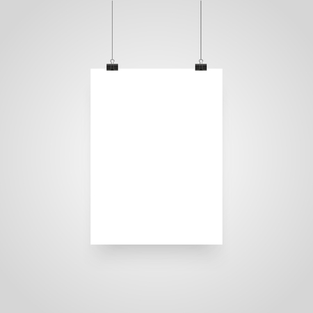 Illustration pour Mock-Up Realistic White Poster Hanging. Clips for Business Presentations, Place for Text. Empty White Poster Template. Vector illustration - image libre de droit