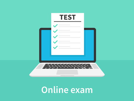 Online exam, laptop with checklist, taking test, choosing answer, questionnaire form, education concept. Flat cartoon design, vector illustration on background