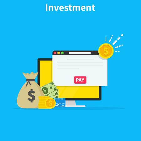 Illustration pour Financial investments concept, marketing, analysis, security of deposits, guarantee of security financial savings and money turnover. Investment in innovation. Flat cartoon design, vector illustration. - image libre de droit