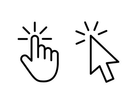 Ilustración de Computer mouse click cursor gray arrow icons set and loading icons. Cursor icon. Vector illustration - Imagen libre de derechos
