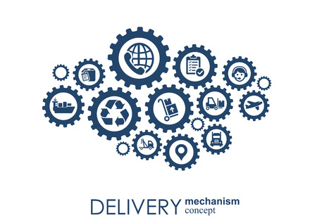 Illustration pour Delivery mechanism concept. Abstract background with connected gears and icons for logistic, service, strategy, shipping, distribution, transport, market, communicate concepts. Vector interactive - image libre de droit