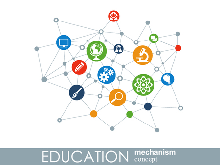 Illustration pour Education network. Hexagon abstract background with lines, polygons, and integrate flat icons. Connected symbols for elearning, knowledge, learn and global concepts. Vector interactive illustration - image libre de droit