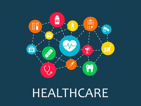 Illustration for Healthcare mechanism concept. Abstract background with connected gears and icons for medical, health, strategy, care, medicine, network, social media and global concepts. Vector infographic - Royalty Free Image