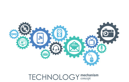 Illustration for Technology mechanism concept. Abstract background with integrated gears and icons for digital, strategy, internet, network, connect, communicate, social media and global concepts. Vector infographic - Royalty Free Image