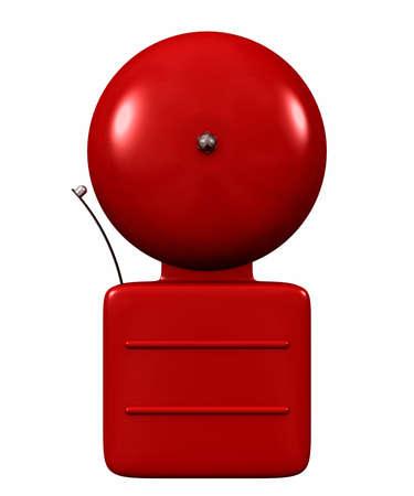 Foto für An older style alarm bell bright red isolated on white - Lizenzfreies Bild