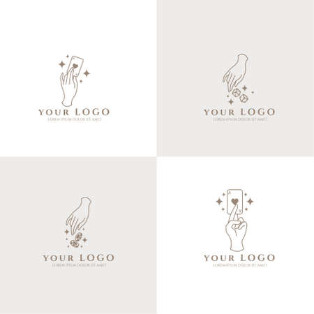 Illustration for occult hand boho logo editable template card casino - Royalty Free Image