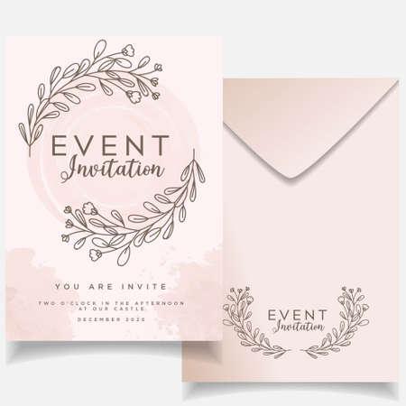 Illustration pour feminine elegant event wedding invitation editable template - image libre de droit