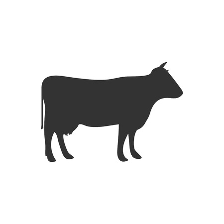 Cow. Black Icon Flat on white background