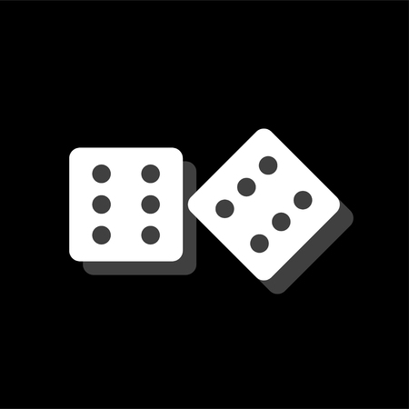 Dices. White flat simple icon with shadow