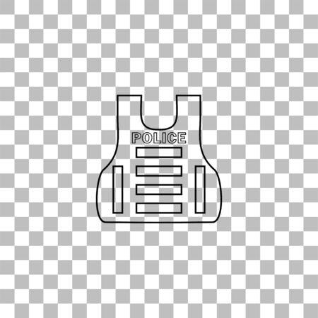 Police flak jacket or bulletproof vest. Black flat icon on a transparent background. Pictogram for your project
