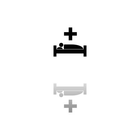 Illustration pour Hospital. Black symbol on white background. Simple illustration. Flat Vector Icon. Mirror Reflection Shadow. - image libre de droit