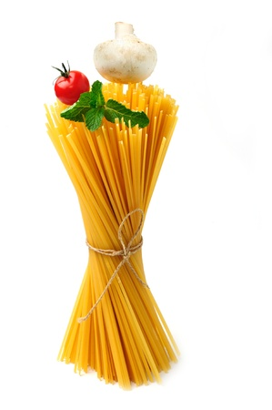 An image of a bunch of raw yellow spaghetti