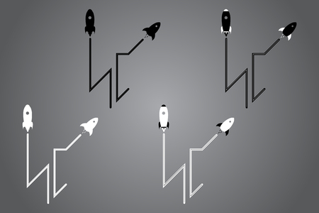 Creative icon with rocket. Black and white  design. Vector illustration. Modern noir style