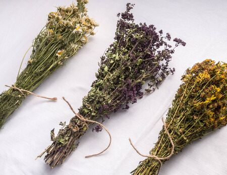 Photo pour Bunches of dried chamomile, oregano and tutsan tied with jute rope on white background - image libre de droit